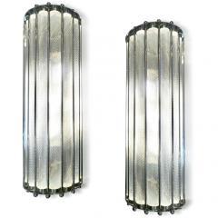 Italian Bespoke Art Deco Design Crystal Murano Glass Half Moon Nickel Wall Light - 1958664
