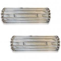 Italian Bespoke Art Deco Design Crystal Murano Glass Half Moon Nickel Wall Light - 1958666