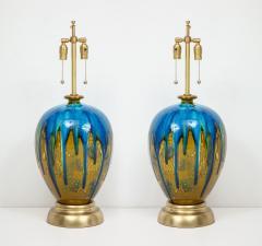 Italian Blue Green Drip Glaze Lamps - 755872