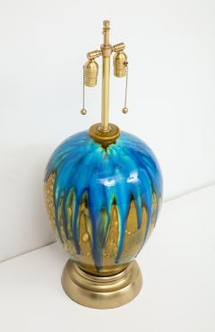 Italian Blue Green Drip Glaze Lamps - 755874