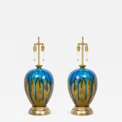 Italian Blue Green Drip Glaze Lamps - 756745
