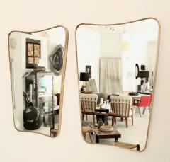 Italian Brass Framed Curved Top Vintage Shield Shaped Pair of Mirrors - 1307326