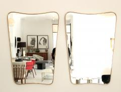 Italian Brass Framed Curved Top Vintage Shield Shaped Pair of Mirrors - 1307328