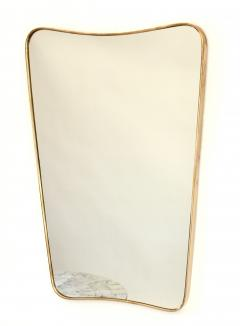 Italian Brass Framed Curved Top Vintage Shield Shaped Pair of Mirrors - 1307331