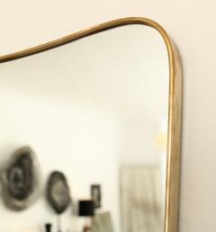 Italian Brass Framed Curved Top Vintage Shield Shaped Pair of Mirrors - 1307333
