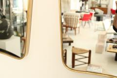 Italian Brass Framed Curved Top Vintage Shield Shaped Pair of Mirrors - 1307335