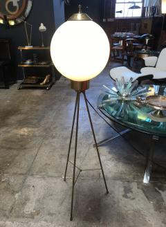 Italian Brass and Milk Glass Shape Tripod Floor Lamp 1950s - 1467787