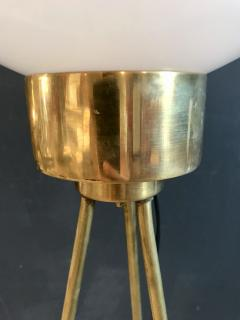 Italian Brass and Milk Glass Shape Tripod Floor Lamp 1950s - 1467790
