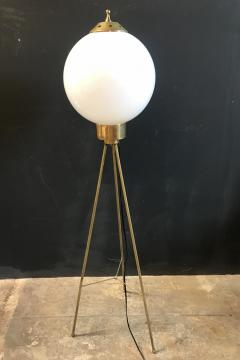 Italian Brass and Milk Glass Shape Tripod Floor Lamp 1950s - 1467793