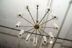 Italian Brass and Perspex Chandelier Wagon Wheel Shape - 1093960