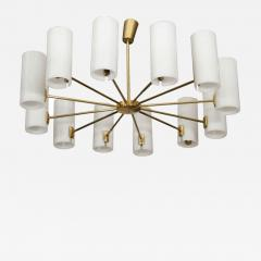 Italian Brass and Perspex Chandelier Wagon Wheel Shape - 1094839