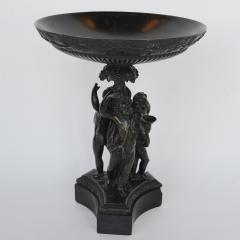 Italian Bronze and Black Marble Bacchanalian Figural Tazza Early 19th Century - 2140522