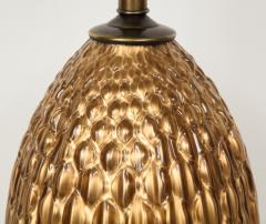 Italian Bronze and Coppered Glass Artichoke Lamps - 757899