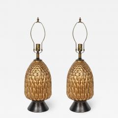 Italian Bronze and Coppered Glass Artichoke Lamps - 760469