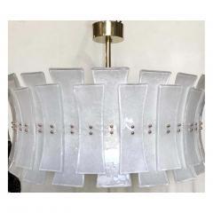 Italian Contemporary Art Deco Design White Frosted Murano Glass Drum Chandelier - 2125683