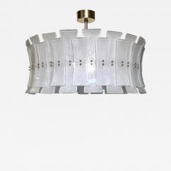 Italian Contemporary Art Deco Design White Frosted Murano Glass Drum Chandelier - 2127081