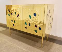 Italian Contemporary Design 2 Door Brass Cabinet with Blue Green Purple Agate - 1979817