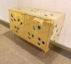 Italian Contemporary Design 2 Door Brass Cabinet with Blue Green Purple Agate - 1979818