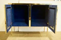 Italian Contemporary Design 2 Door Brass Cabinet with Blue Green Purple Agate - 1979819