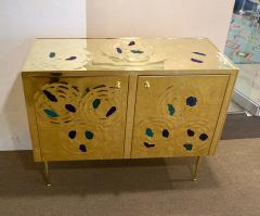 Italian Contemporary Design 2 Door Brass Cabinet with Blue Green Purple Agate - 1979820