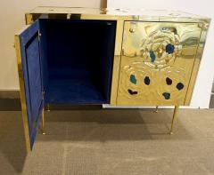 Italian Contemporary Design 2 Door Brass Cabinet with Blue Green Purple Agate - 1979834