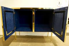 Italian Contemporary Design 2 Door Brass Cabinet with Blue Green Purple Agate - 1979840