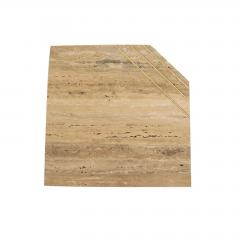 Italian Contemporary Modern Travertine Nesting Tables Set with Brass Insets - 2110809