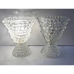 Italian Contemporary Pair of Crystal Rostrato Murano Glass Table Lamps - 1979796
