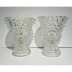 Italian Contemporary Pair of Crystal Rostrato Murano Glass Table Lamps - 1979799