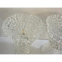 Italian Contemporary Pair of Crystal Rostrato Murano Glass Table Lamps - 1979802