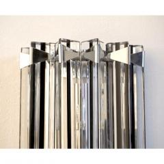 Italian Contemporary Pair of Nickel Crystal and Black Inset Murano Glass Sconces - 450494