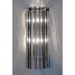 Italian Contemporary Pair of Nickel Crystal and Black Inset Murano Glass Sconces - 450495