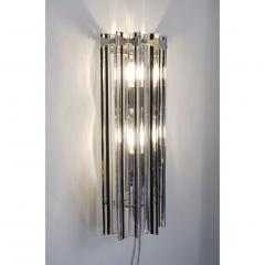Italian Contemporary Pair of Nickel Crystal and Black Inset Murano Glass Sconces - 450497