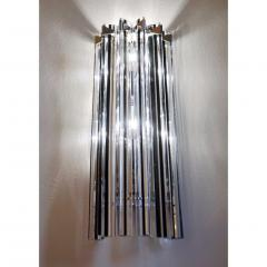 Italian Contemporary Pair of Nickel Crystal and Black Inset Murano Glass Sconces - 450499