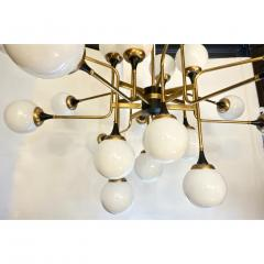 Italian Contemporary White Black Brass 24 Light Modern Asymmetric Chandelier - 1979864