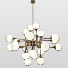 Italian Contemporary White Black Brass 24 Light Modern Asymmetric Chandelier - 1979866