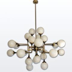 Italian Contemporary White Black Brass 24 Light Modern Asymmetric Chandelier - 1979871