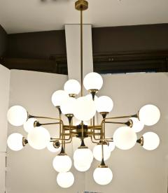 Italian Contemporary White Black Brass 24 Light Modern Asymmetric Chandelier - 1979873