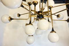 Italian Contemporary White Black Brass 24 Light Modern Asymmetric Chandelier - 1979874