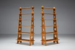 Italian Design Bookshelves In Solid Elm 1970s - 2133091