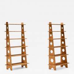 Italian Design Bookshelves In Solid Elm 1970s - 2134356