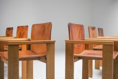 Italian Dining Chairs in Tan Leather in the Style of Scarpa 1970s - 1566300