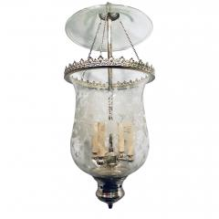Italian Etched Glass Silver Plated Lantern - 1173303