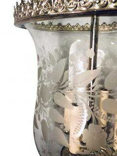 Italian Etched Glass Silver Plated Lantern - 1173304
