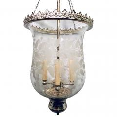Italian Etched Glass Silver Plated Lantern - 1173306
