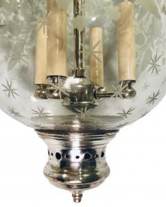 Italian Etched Glass Silver Plated Lantern - 1173307