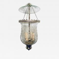 Italian Etched Glass Silver Plated Lantern - 1173430
