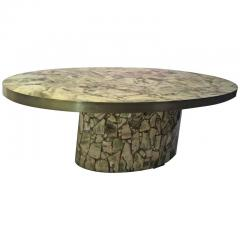 Italian Fractured Green Onyx Resin Oval Coffee Table - 458701