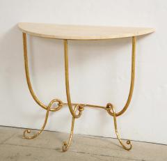 Italian Gilded Iron Demilune Console Table with Travertine Top - 1814587