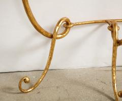 Italian Gilded Iron Demilune Console Table with Travertine Top - 1814589